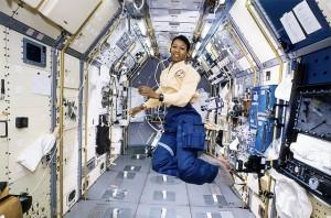 Astronaut Mae Jemison Working in Spacelab-J